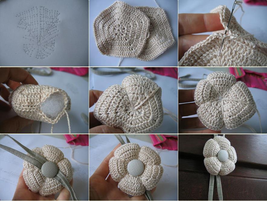 Flor en crochet con volumen