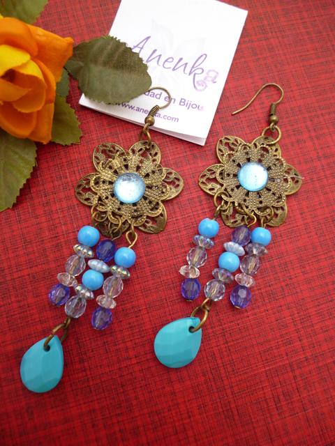 Aros en bronce y azul