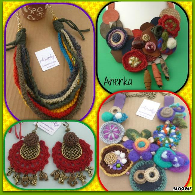 Bijou textil con variados materiales